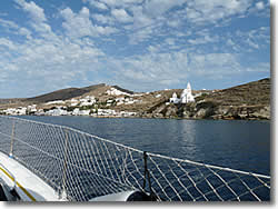 approaching the port of Ios island